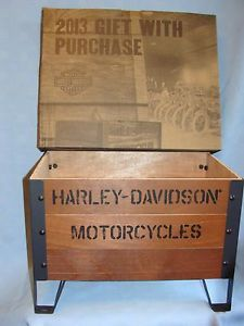 Harley Davidson Storage Crate Magazine Rack Kindling Box Wood Steel New Boxed | eBay