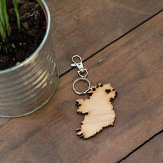 'My heart belongs in Ireland' A wooden keyring, laser cut into the shape of Ireland. Created by Studio Souks own, Linzi Rooney. Laser Cutting, My Heart, Ireland, Irish, Shapes, Studio, How To Make, Gifts, Presents