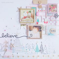 Love the combination of hand-drawn and pasted decoration on this page! Christmas Scrapbook Layouts, Scrapbook Designs, Scrapbook Paper Crafts, Scrapbooking Layouts, Scrapbook Cards, Christmas Journal, Mini Albums Scrap, Crate Paper, Photo Layouts