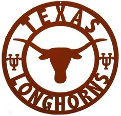 Made to order no two exactly the same Cut out of 16 gauge steel Approx 12 diameter, can be made larger Baked on Powder Coat Finish (Burnt Orange) Can be used indoors or outdoors with out fading or rusting Texas Longhorns Football, Ut Longhorns, Oregon Ducks Football, Alabama Football, American Football, But Football, College Football, Dallas Cowboys Wallpaper, Hook Em Horns