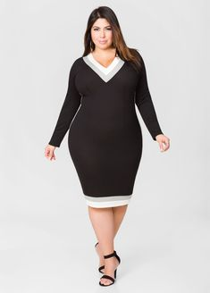 f71282ab882 Solid Hacci Varsity Dress-Plus Size Dresses-Ashley Stewart
