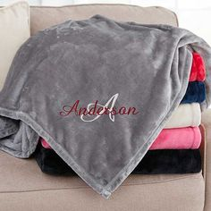 Buy personalized fleece blankets for boys with our Name & Monogram design. Choose blanket size, color & add any name and single initial monogram in your choice of colors and fonts. Great gift for boys of all ages!
