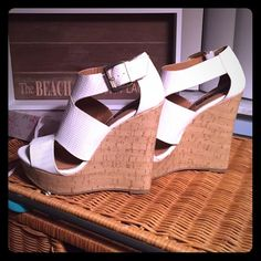 White summer wedges So cute! Never worn, bought, but too small. Shoes
