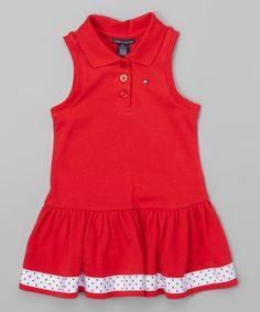 Loving this Red Collared Drop-Waist Dress - Toddler & Girls on #zulily! #zulilyfinds