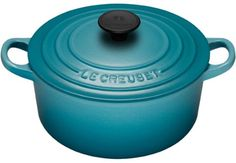 So, the problem is, I've been collecting all the red le creuset cookware the last 12 years. Now I am in love with this caribbean blue and it would go great with my remodeled kitchen. <3 <3 <3 I suppose the red and blue may actually look pretty cool together.