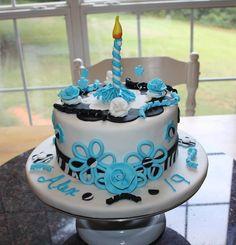 Birthday cake! All decorations handmade from gumpaste/fondant.