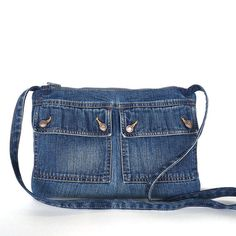 Recycelte Umhängetaschen Beutel, kleine blaue Jeans-Seitentasche, Mädchen Jeans Tasche, Jean Kreuz Körper Geldbörse, vegane Denim Kreuz über Denim Geldbörse Geldbeutel