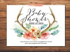 My favorite so far....this might just be THE ONE. Baby Shower Invite Baby Girl Invite Antler by PrintableQuirks