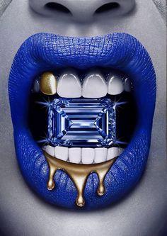 Original Fashion Painting by Peter Perlegas Lips Painting, Painting Abstract, Acrylic Paintings, Lip Artwork, Drip Art, Blue Lips, Lipstick Art, Fashion Painting, Lip Designs