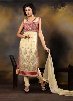Designer salwar kameez online shopping cash on delivery. Shop now! This picturesque cream designer suit.