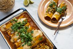These vegan enchiladas are knock-out delicious, in the oven in less that ten minutes, and a healthful alternative to all the heavy cheese versions out there. With black beans, sweet potatoes, and a stealthy turmeric boost.