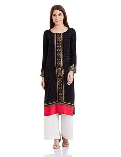6b5fb5346 W for Woman Women s Black Synthetic Straight Kurta Material  Synthetic  Colour   Black Coloured Casual