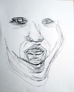 [하품, 자화상] 거울을 보며 하품하는 나의 모습을 한 평면위에 겹쳐 그렸다. 연필.