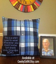I know losing someone you love is difficult. Its even more difficult when youre young and cant always grasp the idea of someone you love being gone. These pillows are here to help soften the impact in whatever way they can. Each one is custom crafted from the clothing of the deceased. It can work with just about any article of clothing but button-up shirts really do well. I do prefer working with cotton products.  THIS IS FOR THE COMPLETED PILLOW! Simply unbox, fluff and display. I do have a…
