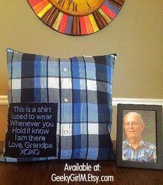 Memory Pillow, Loved Ones Clothing, Heirloom Gift, Keepsake Pillow, Bereavement Gift, Throw Pillow, Accent Pillow, Custom Made Pillow