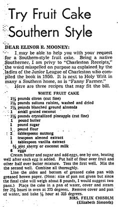 """A newspaper article providing a recipe for """"Southern Style"""" fruit cake, published in the Boston Herald (Boston, Massachusetts), 7 December 1971. Read more on the GenealogyBank blog: """"Holiday Recipe Ideas for Good Old-Fashioned Home Cooking."""" http://blog.genealogybank.com/holiday-recipe-ideas-for-good-old-fashioned-home-cooking.html"""