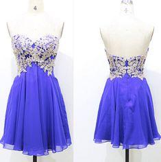 Blue Appliques Chiffon Homecoming Dresses,A-Line Graduation Dresses,Homecoming Dress,Short Homecoming Dress