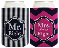 Wedding Coolie Mr and Mrs Right Bridal Shower Bachelorette Party Gag Gift 2 Pack Can Coolie Drink Coolers Coolies Premium Full Color ThisWear http://www.amazon.com/dp/B00ZY0IGLQ/ref=cm_sw_r_pi_dp_5y3awb0CC8VJF