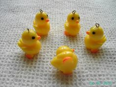 5 Resin Rubber Ducky Pendant charms 25mm yellow by ukbeadsonline