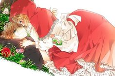 Vocaloid fan art drawn by the mangaka naoto(tulip) for the song the wolf that fell in love with little red riding hood sung by len and rin Anime Wolf, Manga Anime, Red Riding Hood Wolf, Little Red Ridding Hood, Rin E Len, Anime Girls, Sakura Kinomoto, Moba Legends, Anime Version