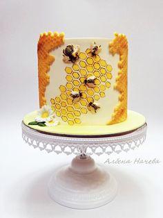 Bee Cake - cake by My sweet hobby Bee Cakes, Fondant Cakes, Cupcake Cakes, Beautiful Cakes, Amazing Cakes, Buttercream Cupcakes, Honey Cake, Classic Cake, Fall Wedding Cakes