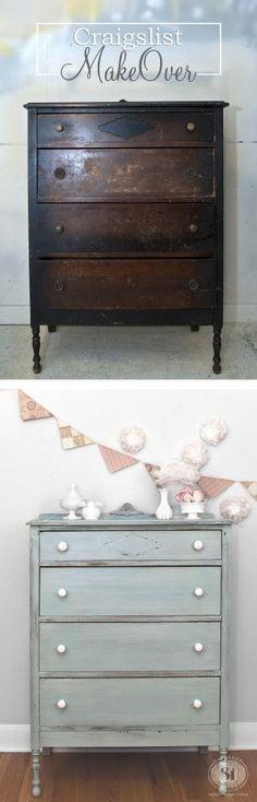 A. Craigslist Dresser Makeover - Before&After #shabbychicfurnituremakeover #shabbychicdressersmakeover