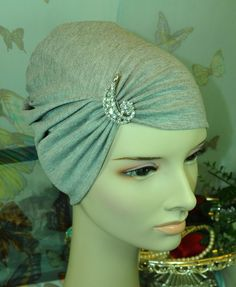New CottonLycra Under Scarf Shawl Hijab ChemoCap Bonnet Light Gray Silver Brooch #Handmade #BonnetCapAttachedwithBrooch