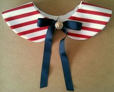 Red and White Stripe Peter Pan Collar with Navy Blue Ribbon Tie and Nautical Golden Button