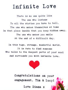 A romantic poem all about the one! As this poem can be personalised, it makes an ideal gift for an engagement, wedding or anniversary :) The important stuff:  *Printed on quality 300gsm card *A4 Size *Free P&P in UK – woohoo! *To keep delivery costs down, your lovely print will be sent 2nd class & untracked but there are shipping upgrades available – just choose the one you want! *©WhatAllieWrote on the back!  I really hope you enjoy this poem! Allie Unfortunately, our beautiful flowers are…