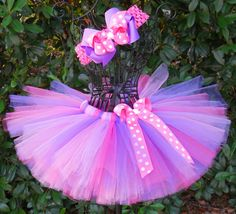 Purple Pink Tutu-Baby Tutu-Girls Tutu-Birthday Tutu-Purple Tutu-Tutu Set-Flower Girl Tutu-Princess Tutu-Pageant-Photo Prop-FREE Hband. $22.00, via Etsy.
