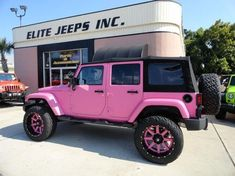 Hot pink jeep with pink rims 2015 jeep wrangler unlimited sa Jeep Wrangler Unlimited, Jeep Wrangler For Sale, Wrangler Truck, Jeep Cars, Jeep Truck, Jeep Jeep, Pink Rims, Convertible, Small Luxury Cars