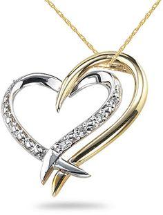ApplesofGold.com - 14K Two-Tone Gold Diamond Heart  # ApplesofGold.com