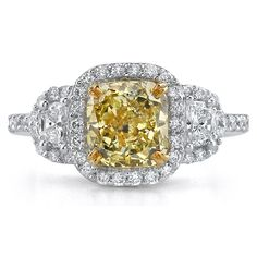 Radiant-Cut Fancy Yellow Diamond Engagement Ring ~ www.touchofgold.com