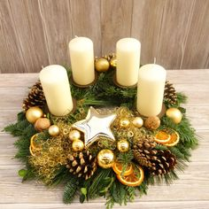 This naturally decorated Advent wreath of fresh fir, juniper and boxwood is bound by hand and brings natural, Christmas t . Christmas Advent Wreath, Christmas Table Decorations, Christmas Candles, Winter Christmas, Christmas Time, Christmas Crafts, Holiday Decor, Advent Wreaths, Natural Christmas