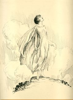 john r neill  - Woman on Hill  Pen and ink on illustration board.