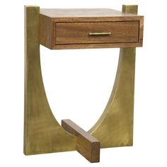 Philibert Rustic Dark Walnut Gold Single Drawer Side Table