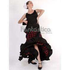 cade668f3 Vestido de Flamenca   Sevillana para Niña y Mujer Color Negro y Rojo con  Lunares II