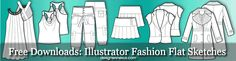 Free Downloads: Adobe Illustrator Fashion Flat Sketches - Huge free library of over 280 flats for fashion technical drawing at www.designersnexus.com. #fashionflats #flatsketch #fashionCAD #technicalflats #flatdrawing #fashionsketch