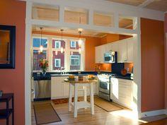 Peach Kitchen peach kitchen, grey cabinets, bavarian chalet kitchen