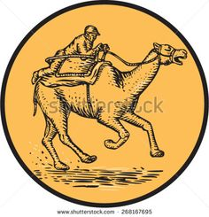 Etching engraving handmade style illustration of camel and jockey racing viewed from the side set inside circle shape on isolated background. - stock vector