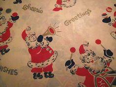 Vintage 1950's Christmas Wrapping Paper English Santa (12/02/2013)