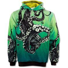 Octopus Hoodie ($60) ❤ liked on Polyvore featuring tops, hoodies, octopus hoodie, sweatshirts hoodies, fleece lined hooded sweatshirt, fleece lined hoodie and black hoodies