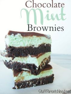 Such a decadent treat, and absolutely perfect for St. Patrick's Day or Easter. Chocolate mint brownies.