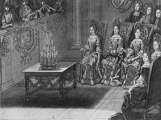 Court gathered for a Concert, 1694. Note the small muffs the ladies are using to warm their hands. They are all wearing la grande robe, the court dresses, and not mantuas. French