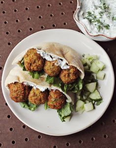 Homemade Falafel and Cucumber Dressing | Beautiful Mess | #vegan #recipe (Easy enough to use homemade vegan yogurt in lieu of Greek yogurt for the dressing. Also, I'll be baking these rather than deep-fat frying.)