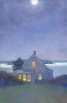 Yellow House at Night: Suzanne Siegel: Pigment Print - Artful Home