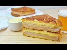 Learn how to make delicious Monte Cristo sandwiches with ham, turkey and Gouda cheese. These sandwiches can be served sprinkled with powdered sugar and jam i. Sandwich Recipes, Egg Recipes, Kitchen Recipes, Other Recipes, Cooking Recipes, Cooking Tips, Fried Ham, Monterey Jack Cheese, Food Cakes
