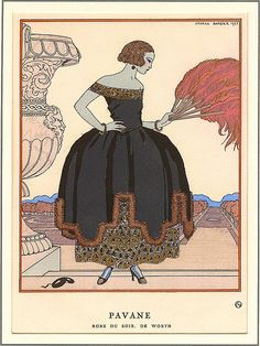 Art Deco Home Decor Print of Woman in Black Ball Gown by Barbier---page from magazine Art Deco Illustration, Fashion Illustration Vintage, Fashion Illustrations, Dress Illustration, Vintage Illustrations, Art Deco Wall Art, Art Deco Print, Art Prints, Art Deco Fashion