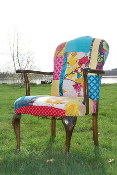 Patchwork Chair by skburton designs. Funky Furniture, Furniture Makeover, Painted Furniture, Patchwork Chair, Deco Originale, Upholstered Furniture, Cool Chairs, Shabby Vintage, Sofa Chair