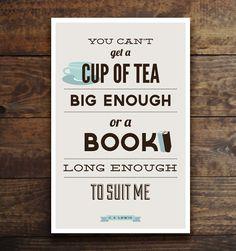 Tea & Book, CS Lewis quote print